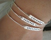 stacking bracelets | courage, inspire, breathe | sterling silver personalized bracelet | inspirational word bracelet | you choose quantity