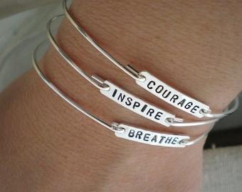 stacking bracelets   courage, inspire, breathe   sterling silver personalized bracelet   inspirational word bracelet   you choose quantity