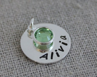 hand stamped mothers pendant with swarovski crystal name and birthstone custom stamped name pendant push present new mom gift