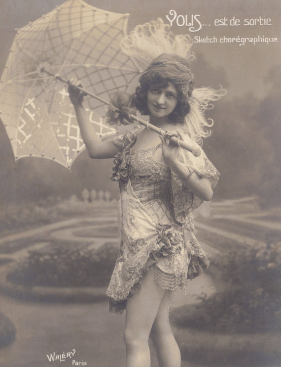 Beautiful Vaudevillienne with Parisol, by Walery, circa 1905/10