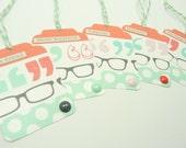Gift Tag Set of 5, Washi Tape Gift Tags, Peach Aqua Washi Tape, Glasses, Tags