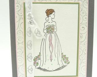 Elegant Wedding Card, Classy Card for Bride, Handmade Paper Greeting Card, Bridal Shower Card, Wedding Congratulations Card