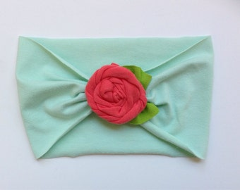 TODDLER SIZE Pick Your Color Extra Wide Jersey Knit Rose Flower Headband Headwrap