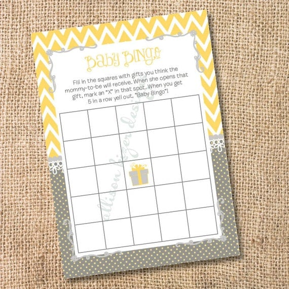 Yellow and Gray Chevron Printable Baby or Bridal Bingo Game - INSTANT DOWLOAD