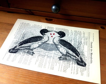Birds Love Valentine Wedding Anniversary Engagement Gift Personalized Art Print on Antique 1896 Dictionary Book Page