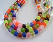 Frosted GLASS Beads, Color Mix, Round, Slightly Translucent, 73 Pieces, 1 Strand, 6mm, Sea Glass Style