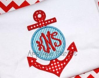 Anchor Applique Shirt or Onesie - Cruise Shirt - Custom Monogram or Name - Boy's or Girl's Applique shirt - Anchor Applique Design