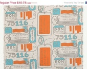 Closing Shop Home Decor Fabric Yardage - AirMail Stamps by Premier Prints - Mandarin Orange and Turquoise - 1 yardd