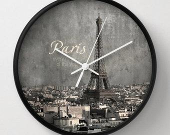 I love Paris  - wall clock