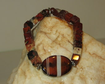 Agate and Jasper Stretch Bracelet with Daisy Spacers and Cross Charm