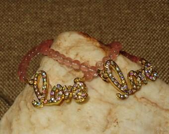 Stretch Gold & Rhinestone Love Bracelet with Cherry Quartz Beads