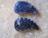 Sodalite Carved Wing Bead