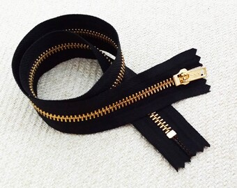 20inch - Black Metal Zipper - Gold Teeth - 5pcs