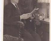Man Reading a Book - Vintage Photograph, Vernacular, Found Photo  (O)