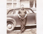 Vintage Photo -  Man Leaning on an Old Car - Vintage Photograph, Vernacular, Found Photo (M)