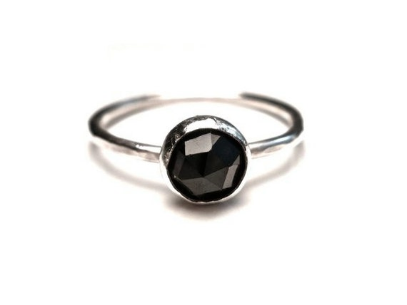Black Spinel Stacking Ring in Sterling Silver- SIZE 6
