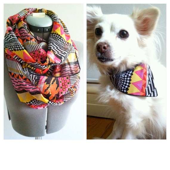 infinity scarf with dog bandana aztec chiffon matching pet. Black Bedroom Furniture Sets. Home Design Ideas