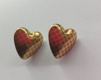 Red and Gold Heart Checkered Earrings