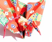 Red Origami Peacock Crane Ornament