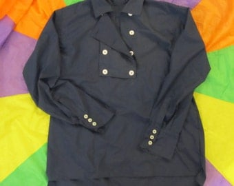 """Monkees style 15"""" Neck /  Small Blue 8 button Bib Front Shirt"""