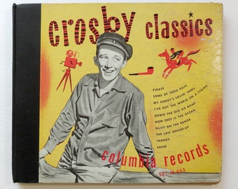 "Rare ""Crosby Classics"" 10"" 78 Vinyl LP Record Bing Crosby 5 Disc Set - Very Good Condition"