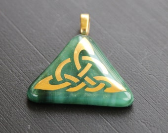 Pendant - Green & Gold Celtic Triangle
