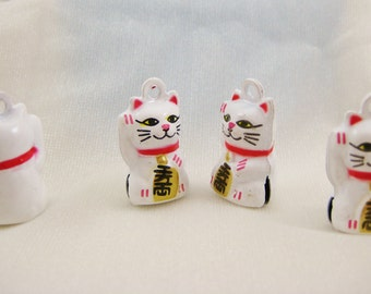 4 Pieces White Lucky Money Cat Animal Jingle Bell Charms
