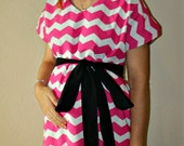 LINED Terrified Maternity Delivery Gown - Hot Pink and White Chevron - Lined in Your Choice of Color - By Mommy Moxie on Etsy