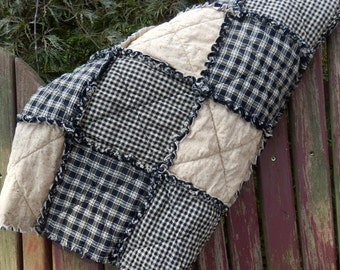 Rag Quilt Lap Size, Black and Tan Homespun Country Primitive Quilt, Farmhouse Throw Blanket, Handmade in NJ