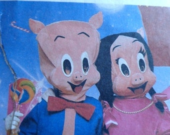 Porky Pig and Petunia Pig Costume Pattern Size Adult Large McCalls 2746 UNCUT