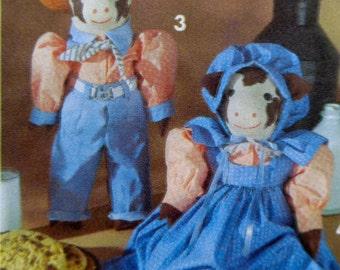 Stuffed Cow Pattern Simplicity 8269 Decorative Stuffed Animals Pattern Faith Van Zanten UNCUT