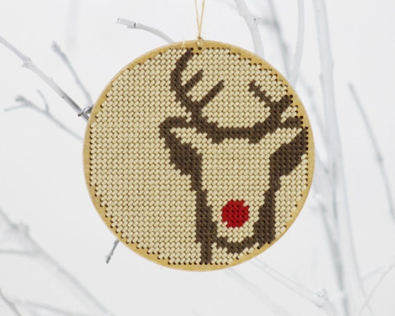 "christmas ornament needlepoint kit - diy - mod rudolph - rustic modern - 4"" - contemporary"
