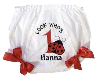 Personalized Birthday 1st 2nd 3rd Cute Ladybug Bloomers, Diaper Cover Personalized