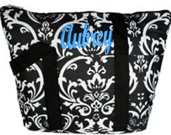 Personalized Insulated Lunch Tote Black & White Damask Print Black Trim Free Shipping