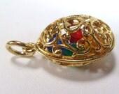 Vintage gold filigree caged rhinestones pendant