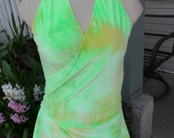Figure skating dress - Halter style tie dyed green and yellow velvet