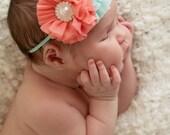 Coral baby headband, infant headband, newborn headband, coral baby headband, aqua baby headband, pearl baby heaband