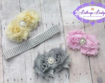 Baby headband, infant headband, newborn headband, set of 3 shabby flowers and interchangeable chevron headband, baby hair band,
