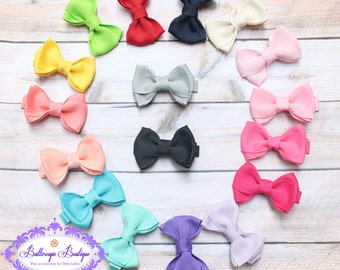 "Baby hair bow, girl hair bow, 2"" hair bow, small hair bow, basic hair bow, toddler hair bow, hair bow set, set you pick 10 colors, mini bow"