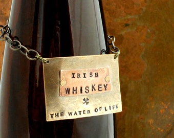 The  Spirits Bottle Tag Collection - The Riveted Series - Irish Whiskey Layered Metal Tags Original Design  - Manly Man Cave - Stock the Bar