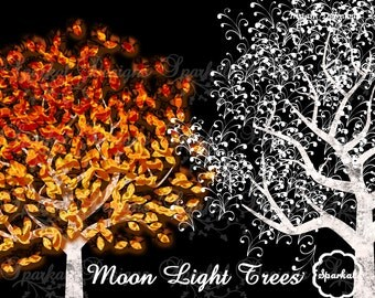 TREE LIGHTS Clipart, Tree Clipart, Trees, Scrapbooking Elements, Instant Download