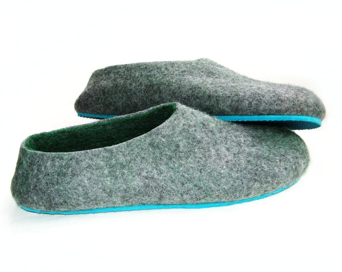 Wool Gifts For Him, Felted Slippers Men, Wool Shoes Cold Weather, Mens Loafers, Comfort Slides, Boyfriend Birthday Gift, Minimalist Shoes