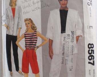 Women's Sailor Collar Jacket, Sleeveless Top, Pants or Shorts - 80's Sewing Pattern - McCall's 8567 - Size 14, Bust 36