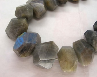 Natural Labradorite Faceted Freeform Nugget Beads 16 Inch Strand