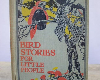 Bird Stories for Little People vintage book by Henry Altemus 1905 very sweet illustrated kids story book sweet storks peacocks swallows hens