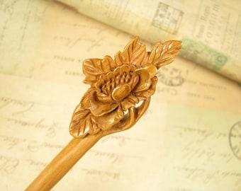 Peach Wood Hair Stick - Hall Crabapple Blossom