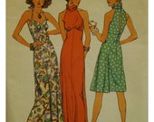 Open Back Dress Pattern, Fitted Bodice, Halter or High Neck, Empire Midriff, Stretch, Sleeveless, Vintage 1970s, Simplicity No. 6510 Size 12