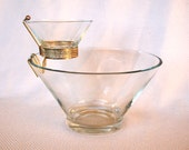 Clear Glass Vintage Anchor Hocking Chip and Dip Bowls Plain Flared Modernistic Sparkling Crystal Pattern