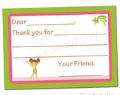 PRINTABLE Girl Gymnast Fill-in-the-Blank Thank You Cards #538