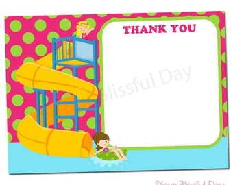 PRINTABLE Girl Waterpark Thank You Cards #598